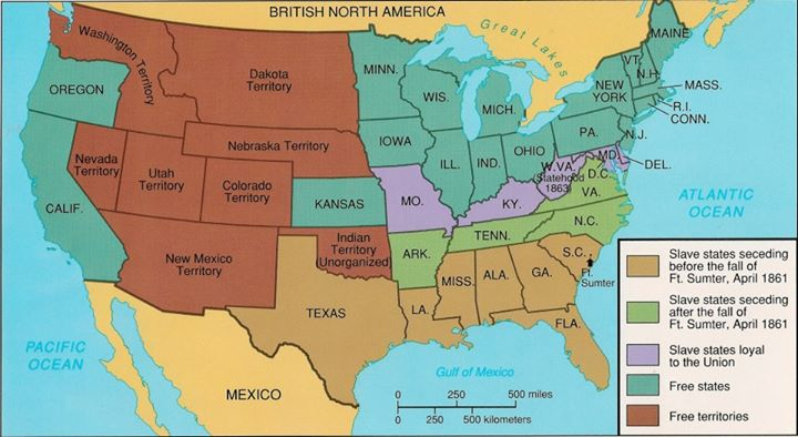 History - The confederate states us territories and united states map