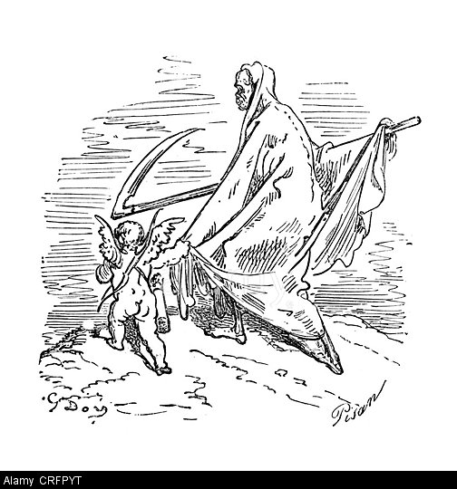 Cupid and Grim Reaper by Gustave Dore from Don Quixote