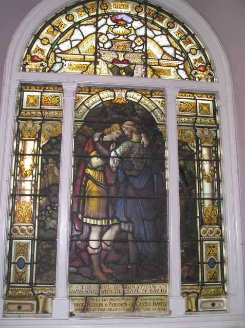 David and Jonathan Stained glass window Scotland