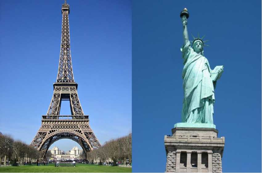 Eifel Tower and Statue of Liberty