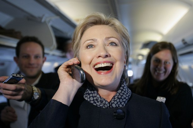 Hillary Clinton on telephone