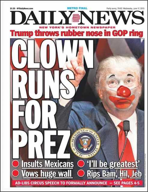 New York Daily News Donald Trump clown