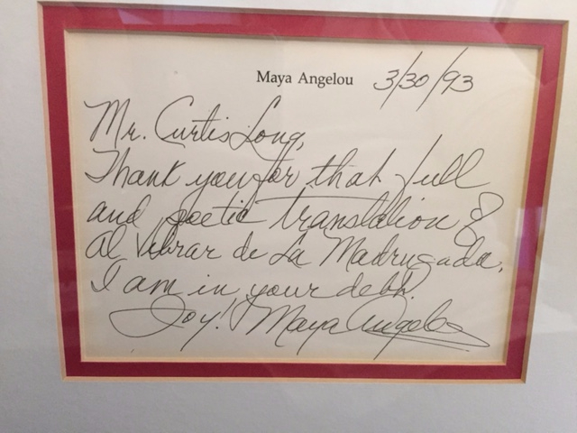 Thank you from Maya Angelou