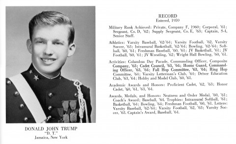 Donald J Trump 1964 NYMA yearbook