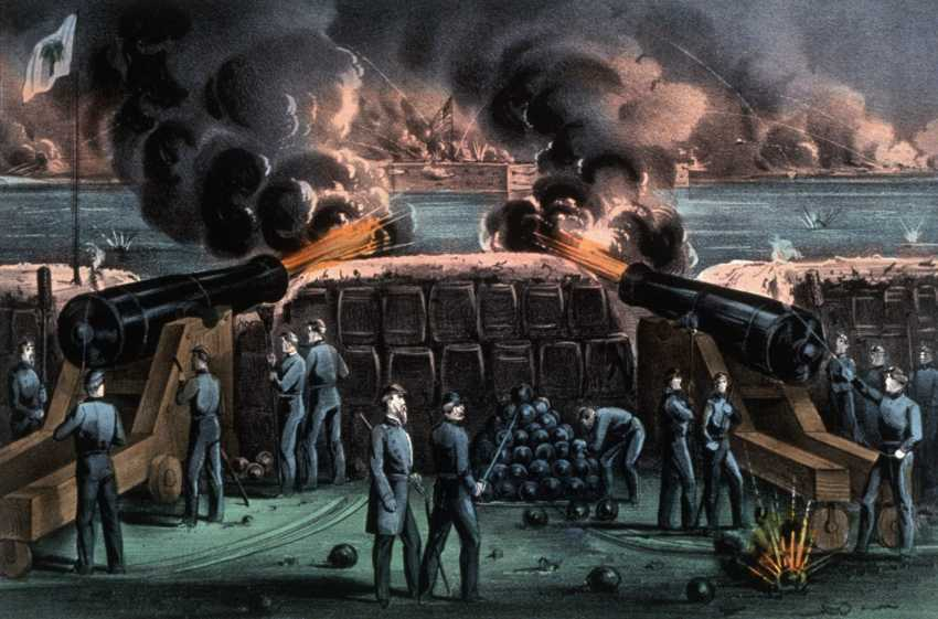 Rebels fire on Fort Sumter