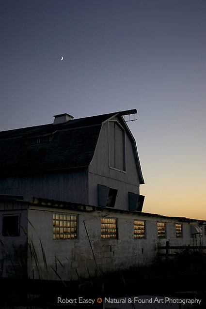 Dairy barn at sunset